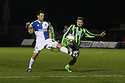 Jake Reeves of AFC Wimbledon and Ollie Clarke of Bristol Rovers FC battle for the ball during the Sky Bet League 2 match between Bristol Rovers and AFC Wimbledon at the Memorial Stadium, Bristol, England on 8 March 2016. Photo by Stuart Butcher.