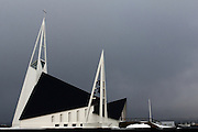 The stark modern architecture of the church in the tiny town of Olafsvík, along the Snaefellsnes Peninsular's north coast, in Western Iceland