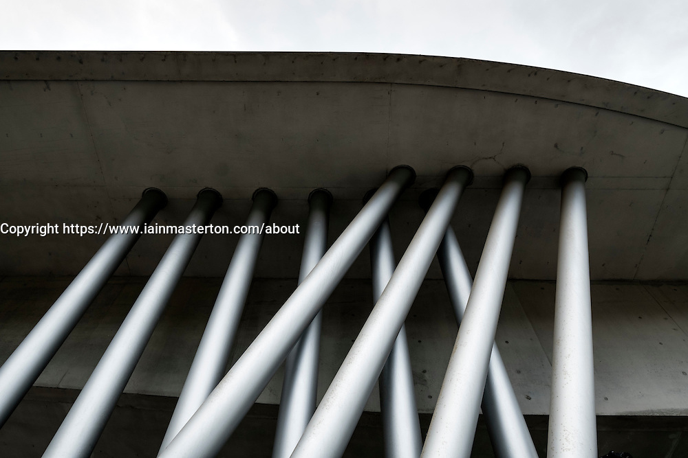 Architectural detail from exterior of MAXXI National Centre of Contemporary Arts designed by Zaha Hadid in Rome, Italy