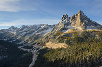 Liberty Bell Mountain, Early winters Spires, and North Cascades Highway, seen from Washington Pass Overlook.  North Cascades, Washington