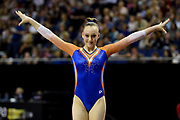 Tisha Volleman of the Nederlands(NED) at the start of her Beam routine during the iPro Sport World Cup of Gymnastics 2017 at the O2 Arena, London, United Kingdom on 8 April 2017. Photo by Martin Cole.