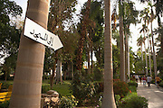 Sign in Arabic posted to tree on Kitchener's Island, Aswan, Egypt