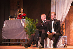 © Licensed to London News Pictures. 11/09/2015. London, UK. L-R: Hannah Brackstone-Brown, Bob Cryer and Ross Forder. Photocall for The Sting, play based on the 1973 caper film of the same name, at Wilton's Music Hall. Performances run in the newly refurbished venue from 9 September to 17 October 2015. The Sting is directed by Peter Joucla with Bob Cryer as Gondorff, Ross Forder as Hooker and Hannah Brackstone-Brown as Billie. Photo credit : Bettina Strenske/LNP