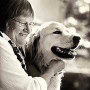 Woman and her dog portrait in black and white