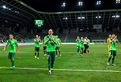 Darijan Matic of NK Olimpija, Aris Zarifovic of NK Olimpija, Miha Zajc of NK Olimpija after the 1st Leg football match between NK Olimpija Ljubljana (SLO) and FK AS Trenčin (SVK) in Second Qualifying Round of UEFA Champions League 2016/17, on July 13, 2016 in SRC Stozice, Ljubljana, Slovenia. Photo by Vid Ponikvar / Sportida