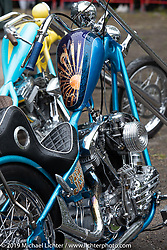 Choppers lined up in the awards corral at the Twin Club's annual Custom Bike Show in Norrtälje, Sweden. Saturday, June 1, 2019. Photography ©2019 Michael Lichter.