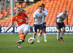 Mark Cullen of Blackpool scores his sides third goal from the penalty spot to complete his hattrick - Mandatory by-line: Jack Phillips/JMP - 14/05/2017 - FOOTBALL - Bloomfield Road - Blackpool, England - Blackpool v Luton Town - Football League 2 Play-off Semi Final Leg 1