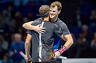 Jamie Murray of Great Britain celebrates his doubles win with partner Bruno Soares of Brazil during the Nitto ATP World Tour Finals at the O2 Arena, London, United Kingdom on 13 November 2018.Photo by Martin Cole