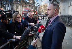 © Licensed to London News Pictures. 11/12/2019. London, UK. Mark Tipper, brother of Trooper Simon Tipper - who was killed in the Hyde Park bombing in 1982, talks to reporters at The High Court where a civil case against convicted IRA member John Downey is going ahead. A previous criminal case against Downey at The Old Bailey collapsed in 2014 after it emerged he had received a so-called 'on the run' letter dating back to 2007 as part of the Good Friday Agreement peace deal. The Hyde Park bombing in July 1982 killed Squadron Quartermaster Corporal Roy Bright, Lieutenant Anthony Daly, Lance Corporal Jeffrey Young and Trooper Simon Tipper. Photo credit: Peter Macdiarmid/LNP