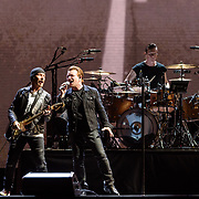 HYATTSVILLE, MD - June 20th, 2017 - The Edge, Bono and Larry Mullen Jr. of U2 perform at FedEx Field as part of the band's 30th anniversary tour of The Joshua Tree. (Photo by Kyle Gustafson / For The Washington Post)
