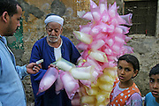 Cotton candy being sold in Cairo, Egypt (From a photographic gallery of street food images, in Hungry Planet: What the World Eats, p. 130)