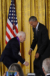 September 22, 2016 - The White House- Washington DC ..President Barack Obama awards the National Medal of Arts to  Mel Brooks  during the awards ceremony the East Room of the White House. Brooks jokes with the President, attempting to kneel down to the Commander and Chiefl... photos by: Christy Bowe - ImageCatcher News