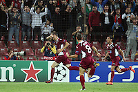 Pantelis Kapetanos (L) of CFR Cluj celebrate after the first goal during the UEFA Champions League, Group H, soccer match against Manchester United, at Dr. Constantin Radulescu Stadium in Cluj-Napoca, Romania, 2 October 2012.