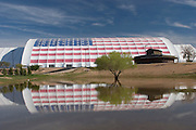American flag decorates building at Westworld