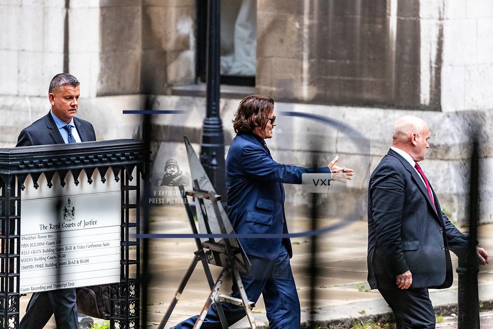 Johnny Depp leaves the High Court in London, Thursday, July 9, 2020. (VXP Photo/ Vudi Xhymshiti)