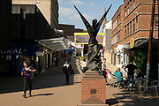 Sculpture on Hertford Street in the UK City of Culture 2021 on 23rd June 2021 in Coventry, United Kingdom. The UK City of Culture is a designation given to a city in the United Kingdom for a period of one year. The aim of the initiative, which is administered by the Department for Digital, Culture, Media and Sport. Coventry is a city which is under a large scale and current regeneration.