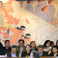 012714  Adron Gardner/Independent<br /> <br /> The Navajo Nation Tribal Council chambers mural painted by Gerald Nailor, Sr. overlooks observers during day one of the winter council session in Window Rock Monday.