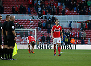 Disappointed Middlesbrough players at full time during the EFL Sky Bet Championship match between Middlesbrough and Nottingham Forest at the Riverside Stadium, Middlesbrough, England on 6 October 2018.