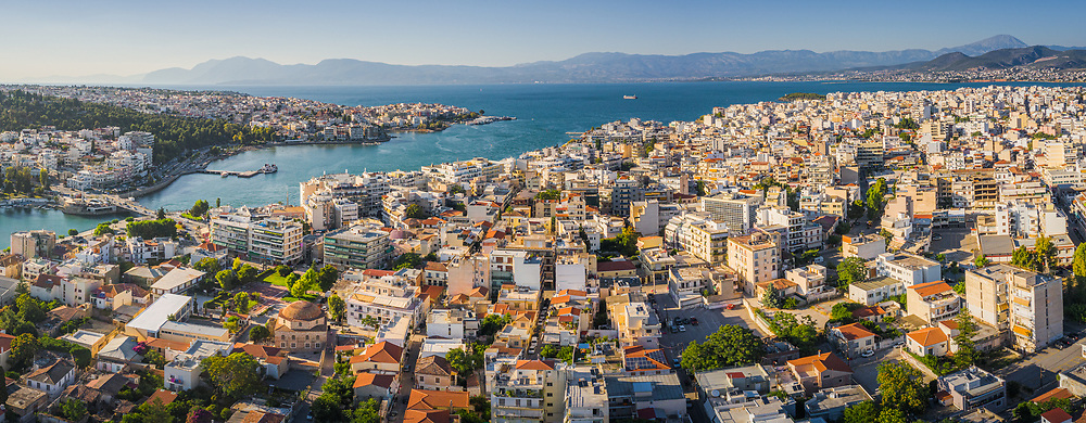 Aerial view of Chalcis and Xirovrisi, Greece