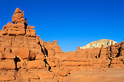 Afternoon light on eroded rock formations at Goblin Valley, Goblin Valley State Park, Utah
