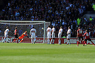 Cardiff city 's Craig Noone (r , no16) scores his goal from a free-kick to make it 1-1.   NPower championship, Cardiff city v Bolton Wanderers at the Cardiff city Stadium in Cardiff, South Wales on Saturday 27th April 2013. pic by Andrew Orchard,  Andrew Orchard sports photography,