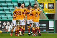 GOAL 0-2 Devante Cole (#44) of Motherwell FC is surrounded by his team mates after scoring the second goal during the SPFL Premiership match between Hibernian FC and Motherwell FC at Easter Road, Edinburgh, Scotland on 27 February 2021.