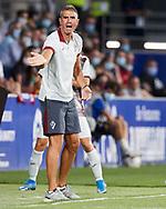 Head coach Gaizka Garitano of SD Eibar reacts during the La Liga Smart Bank match that will face SD Huesca and SD Eibar at El Alcoraz on Aug 13, 2021 in Huesca, Spain.