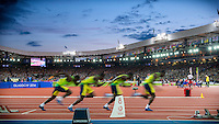 August 1 2014: The start of the 4x100m semi-final at Hampden Park Stadium, Glasgow during the XX Commonwealth Games in Scotland.
