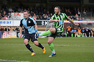 Rhys Murphy of AFC Wimbledon takes a shot at goal. Skybet football league two match, Wycombe Wanderers  v AFC Wimbledon at Adams Park  in High Wycombe, Buckinghamshire on Saturday 2nd April 2016.<br /> pic by John Patrick Fletcher, Andrew Orchard sports photography.
