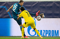 SAINT PETERSBURG, RUSSIA - DECEMBER 08: Artem Dzyuba of Zenit St. Petersburg tries to flick the ball past Emre Can of Borussia Dortmund during the UEFA Champions League Group F stage match between Zenit St. Petersburg and Borussia Dortmund at Gazprom Arena on December 8, 2020 in Saint Petersburg, Russia. (Photo by MB Media)