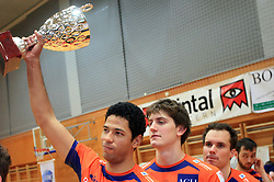 Thomas Delano and Matevz Kamnik at finals of Slovenian volleyball cup between OK ACH Volley and OK Salonit Anhovo Kanal, on December 27, 2008, in Nova Gorica, Slovenia. ACH Volley won 3:2.(Photo by Vid Ponikvar / SportIda).