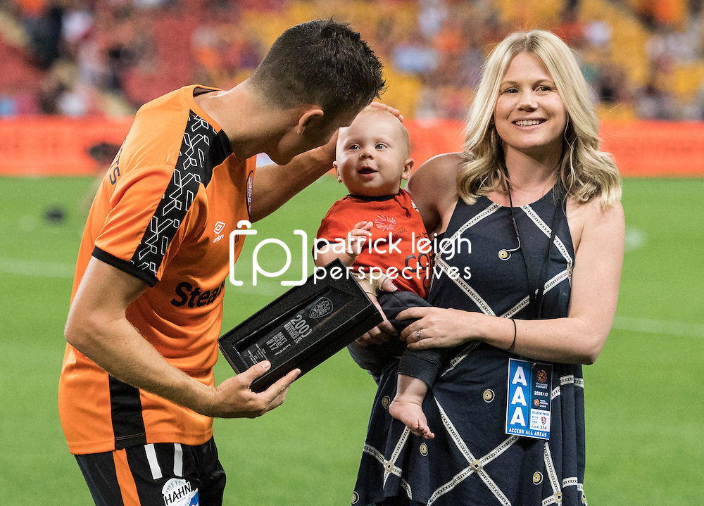 BRISBANE, AUSTRALIA - OCTOBER 7: Matt McKay of the Roar receives an award for 200 games played during the round 1 Hyundai A-League match between the Brisbane Roar and Melbourne Victory at Suncorp Stadium on October 7, 2016 in Brisbane, Australia. (Photo by Patrick Kearney/Brisbane Roar)
