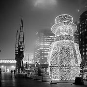 West India Quay electric Christmas snowman, London, England (December 2006)
