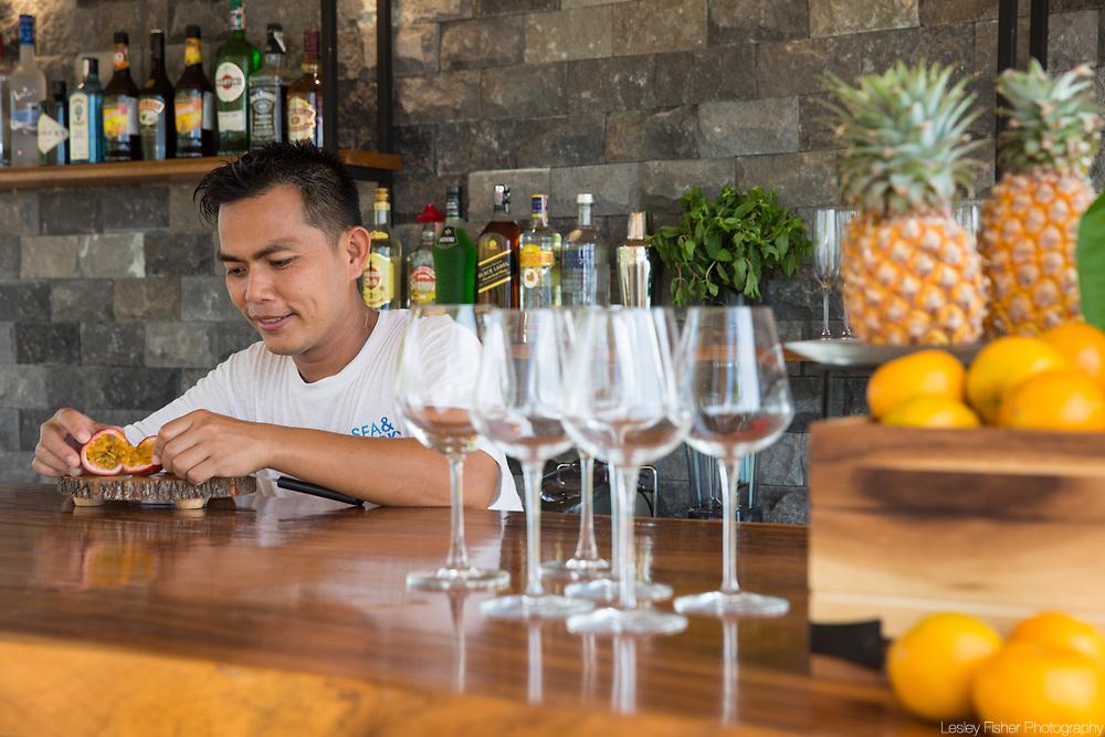 Upper bar at Sea and Sky beach front restaurant located on Ban Tai beach, Koh Samui, Thailand