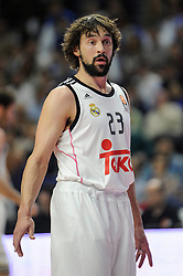 15.04.2015, Palacio de los Deportes stadium, Madrid, ESP, Euroleague Basketball, Real Madrid vs Anadolu Efes Istanbul, Playoffs, im Bild Real Madrid´s Sergio Llull // during the Turkish Airlines Euroleague Basketball 1st final match between Real Madrid vand Anadolu Efes Istanbul t the Palacio de los Deportes stadium in Madrid, Spain on 2015/04/15. EXPA Pictures © 2015, PhotoCredit: EXPA/ Alterphotos/ Luis Fernandez<br /> <br /> *****ATTENTION - OUT of ESP, SUI*****