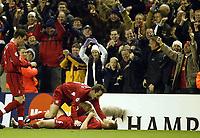 Fotball<br /> Champions League 2004/05<br /> Liverpool v Bayer Leverkusen<br /> 22. febuar 2005<br /> Foto: Digitalsport<br /> NORWAY ONLY<br /> Liverpool's Dietmar Hamann celebrates wityh goal scorer John Arne Riise after the second goal
