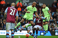 Vincent Kompany of Manchester city © in action.Barclays Premier league match, Aston Villa v Manchester city at Villa Park in Birmingham, Midlands  on Sunday 8th November 2015.<br /> pic by  Andrew Orchard, Andrew Orchard sports photography.