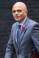 Downing Street, London, October 27th 2015.  Business Secretary Sajid Javid arrives at 10 Downing Street to attend the weekly cabinet meeting. /// Licencing: Paul Davey tel: 07966016296 or 02089696875 paul@pauldaveycreative.co.uk www.pauldaveycreative.co.uk