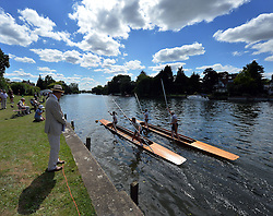 "© Licensed to London News Pictures. 11/08/2013. Action from the annual ""Thames Punting Club Regatta""  on the River Thames at Bray Reach, Maidenhead, Berkshire, UK. Now in it's 128th year it is considered The World Championship as it is the only punting  Regatta in The World. There are various categories such as Gentlemen's Double, Mixed Double, Ladies, Gentlemen & Junior Championships.  Photo credit:  Mike King/LNP"