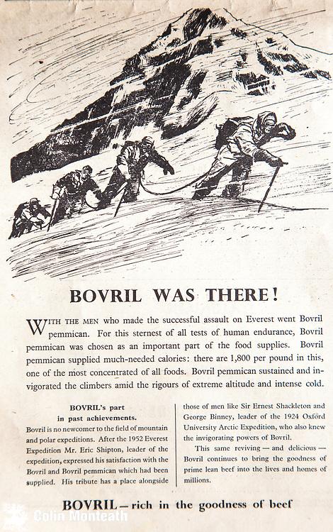 Mount Everest 1953 British first ascent advert - Bovril drinks