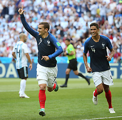 KAZAN, June 30, 2018  Antoine Griezmann (L) of France celebrates scoring during the 2018 FIFA World Cup round of 16 match between France and Argentina in Kazan, Russia, June 30, 2018. (Credit Image: © Li Ming/Xinhua via ZUMA Wire)