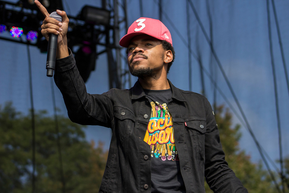 Chance The Rapper performs at AAHH! Fest in Chicago, IL on September 24, 2016.
