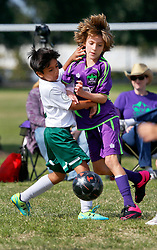 15 November 2015. New Orleans, Louisiana.<br /> New Orleans Jesters Youth Academy play Slidell.<br /> Jesters U10 Purple take on Kaos U11. Jesters emerge victorious.<br /> Photo©; Charlie Varley/varleypix.com