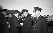 Scott Medals for bravery were presented to four Gardai by Brian Lenihan T.D., Minister for Justice, before he unveiled  the Garda Memorial at the Garda Headquarters. .21.10.1966