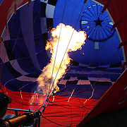 The interior of an inflating balloon as balloon crews prepare for launch around rural Michigan near Battle Creek during competition in the 20th FAI World Hot Air Ballooning Championships. Battle Creek, Michigan, USA. 23rd August 2012. Photo Tim Clayton