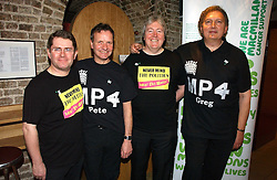 Left to right, KEVIN BRENNAN MP, PETE WISHART MP, IAN CAWSEY MP and GREG KNIGHT MP performing as MP4 at the annual House of Lords and House of Commons Parliamentary Palace of Varieties in aid of Macmillan Cancer Support held at St.John's Smith Square, London W1 on 1st February 2007.<br /><br />NON EXCLUSIVE - WORLD RIGHTS
