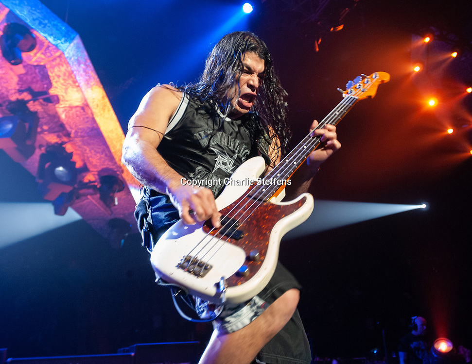 ROBERT TRUJILLO of Metallica at The Forum in Inglewood, California