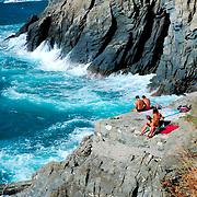 Sunbathing in Cinque Terre