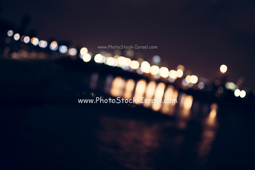 Abstract city lights at the old Tel Aviv port, Israel