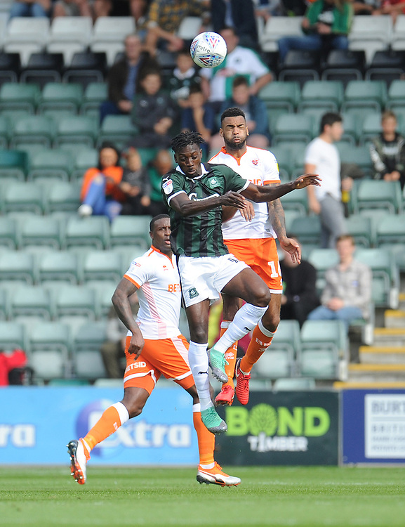 Blackpool's Curtis Tilt vies for possession with Plymouth Argyle's Freddie Ladapo<br /> <br /> Photographer Kevin Barnes/CameraSport<br /> <br /> The EFL Sky Bet League One - Plymouth Argyle v Blackpool - Saturday 15th September 2018 - Home Park - Plymouth<br /> <br /> World Copyright © 2018 CameraSport. All rights reserved. 43 Linden Ave. Countesthorpe. Leicester. England. LE8 5PG - Tel: +44 (0) 116 277 4147 - admin@camerasport.com - www.camerasport.com